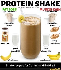 PROTEIN SHAKE Large Shake recipes for Cutting and Bulking! - Shake recipes for Cutting and Bulking! Whey Protein Recipes, Protein Pancakes Vegan, Protein Cupcakes, Protein Powder Recipes, Protein Foods, Pb2 Recipes, Meal Recipes, Protein Powder Shakes, Healthy Protein Shakes
