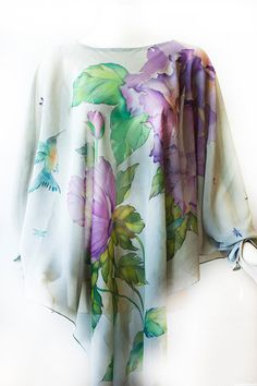 Blusa de seda caftán vestido pintado túnica caftán por SilkWonder