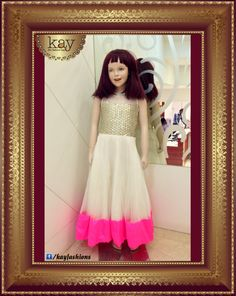 Birthday party? Sangeet and weddings? Treat your little one to this perfectly designed white netted gown with embroidered gold and candy pink borders for the ultimate royal treatment! Have you shopped at our kids wear showroom yet? http://www.kayfashions.in/#!/ #fashion #indian #weddings #bridal #lehenga #ghagra #anarkali #salwar #designer #ethnic #boutique #chennai #shopping #triplicane #dress #clothes #traditional #saree #sari #silksaree