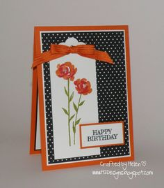 H2 Designs: Tangelo Painted Petals 12/1/15 Card Components All Stampin' Up Tangelo Twist, Basic Black & Whisper White Cardstock, Painted Petals & From The Herd Stamp Sets,  Stacked with Love DSP, Tangelo Twist Ribbon, Scalloped Tag Topper Punch, Pearls,  Memento Black Ink, Tangelo Twist, Real Red & Old Olive Ink, Dimensionals