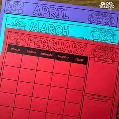 Free Editable Monthly Class Calendars – A Kinderteacher Life – School Calendar İdeas. Classroom Calendar, School Calendar, Classroom Rules, Classroom Behavior, Classroom Organization, Classroom Management, Classroom Ideas, Future Classroom, Kindergarten First Week