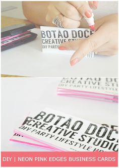 NEON PINK EDGES BUSINESS CARD
