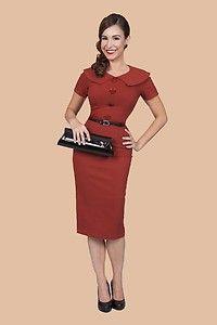 Bettie Page Rockabilly 50 60's Mad Men Pin Up Girl Rita Rust Pencil Dress XS 4X | eBay $102