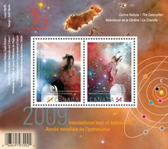 "International Year of Astronomy, Canadian stamps. The stamp on the left shows Dominion Observatory and the Horsehead Nebula. On the right is CFHT in Hawaii and the Eagle Nebula. The background is the Carina nebula and at the top is the Caterpillar, a Bok Globule. (Credit: My World of Stamps) Mona Evans, ""B Is for Bok Globule"" http://www.bellaonline.com/articles/art300907.asp"