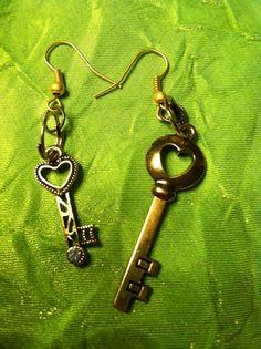 Key earrings on Etsy, $7.00