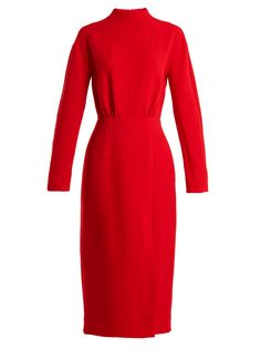 EMILIA WICKSTEAD MILAN OPEN-BACK WOOL-CREPE DRESS. #emiliawickstead #cloth #