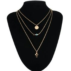 Delicate Three layered necklace Gold tone chain. Keyword: boho three layered necklace, jeweled rhinestone Jewelry Necklaces