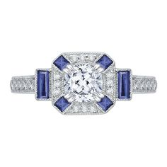 18K White Gold 1/5 Ct Diamond and 3/8 ct. Saphhire Carizza Semi Mount Engagement Ring to fit Cushion Center - Shah Luxury