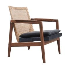 Danish Midcentury Teak and Rattan Chair in Style of Pierre Jeanneret | 1stdibs.com