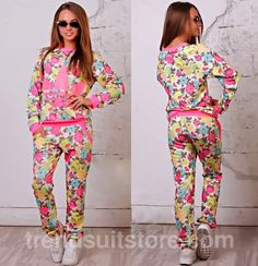 Article CDF00093 #floral #tracksuit Order of this product only by wholesale catalog at our website.Stylish womens floral tracksuit bottoms.