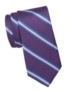 Saks Fifth Avenue Collection Striped Silk Tie In Purple Fifth Avenue Collection, Bold Stripes, Saks Fifth Avenue, Silk Ties, Mens Fashion, Purple, Shopping, Style, Moda Masculina