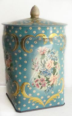 Vintage Aqua and Gold Candy Tin