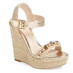 """Pelle Moda 'Oates' Crystal Embellished Espadrille Wedge Sandal, 4 1/2""""... ($160) ❤ liked on Polyvore featuring shoes, sandals, wedges, gold, espadrille sandals, metallic wedge sandals, wedges shoes, platform sandals and pink wedge sandals"""