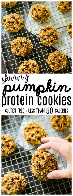 Skinny Pumpkin Protein Cookies are perfectly soft with just the right amou These Skinny Pumpkin Protein Cookies are perfectly soft with just the right amou. -These Skinny Pumpkin Protein Cookies are perfectly soft with just the right amou. Healthy Protein Snacks, Healthy Baking, Healthy Desserts, Healthy Recipes, High Protein, Protein Foods, 50 Calorie Desserts, Skinny Protein, Recipes