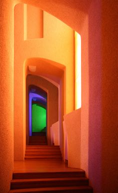 goetheanum is part of architecture - Goethe Colours Side stairs of the auditorium of the Goetheanum, a really curious concrete building My equipment was very simple, and I had no tripod The light was very low and I was in a hurry… Colour Architecture, Organic Architecture, Interior Architecture, Rudolf Steiner, Retro Interior Design, Tadelakt, Concrete Building, Retro Futurism, Windows And Doors