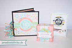 Minialbum, Box und Karte mit Produkten der Stampin' Up! Sale-A-Bration 2014