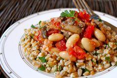 Mushroom, bacon, white bean stew with farro