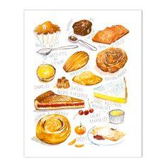 Gâteaux français No 2, Décor cuisine, Illustration aquarelle, Décoration cuisine, Affiche cuisine, Illustration pâtisseries, Dessin A4