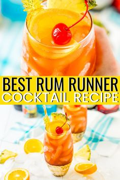 This Rum Runner Cocktail is a fruity and refreshing cocktail made with banana, blackberry, orange, and pineapple flavors! Banana Rum Drinks, Summer Rum Drinks, Pineapple Rum Drinks, Hawaiian Drinks, Coconut Rum Drinks, Easy Rum Cocktails, Rum Cocktail Recipes, Drinks Made With Rum, Rum Mixed Drinks