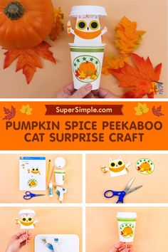 Make an adorable pumpkin spice Peekaboo Cat for fall! Fall Crafts For Kids, Toddler Crafts, Crafts For Teens, Preschool Crafts, Art For Kids, Simple Crafts, Easy Diy Crafts, Pokemon Craft, Printable Activities For Kids