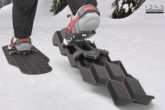 Flux Snowshoe features adaptable footprint that reacts to its environment. Inspired by origami, the folding platform shrinks away when a hiker lifts his/her foot to take a step and automatically open as they set their foot back down.