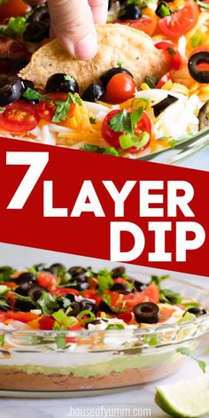 This easy to put together 7 layer dip is loaded with flavors! Perfect for setting out at a party or for having as an appetizer at home. Dip Recipes, Light Recipes, Appetizer Recipes, Mexican Food Recipes, Ethnic Recipes, Dinner Recipes, 7 Layer Dip Recipe, Seven Layer Dip, Taco Dip
