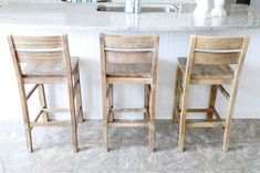 "kitchen island chairs with backs | We settled on these ""grey washed"" Brooklyn Bar Stools. They are a ..."
