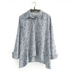 Johnature 2017 New Women Shirt Cotton Linen Button White Blue Floral Turn-down Collar Irregular Plus Size Solid Loose Blouse