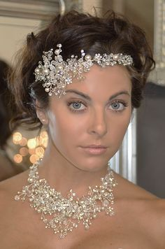 Crystal and Pearl Spray Headband and Jewelry Set Elena Designs E771--Affordable Elegance Bridal -