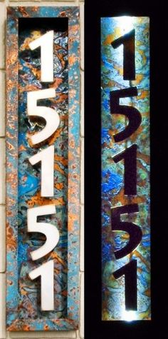 Solar power -                                                      Illuminated House Numbers by Aztec Artistic Productions  House numbers made from stainless steel and copper with applied patina. Illuminated with solar powered l.e.d. lights