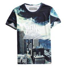 86704e3c982d Raisevern casual t shirt letter poker skull Geometric flag print t-shirt  hip hop rock tshirt mens boy brand clothes