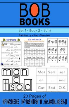 FREE BOB Books Printables for Beginning Readers: Set 1, Book 1 Mat and Book 2 Sam -- plus links to more free printables from 5 other collaborators!!