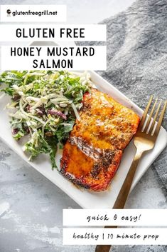 Simple, flavorful and healthy salmon the whole family will love! Less than 20 minutes until you have this delicious Honey Mustard Salmon on the table! Healthy Grilling Recipes, Healthy Cooking, Grill Recipes, Grilled Seafood, Grilled Salmon, Gluten Free Recipes For Dinner, Dinner Recipes, Dinner Ideas, Honey Mustard Salmon