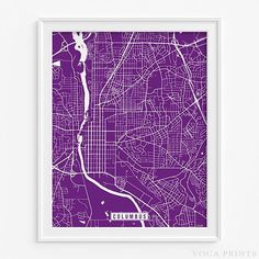 Columbus, Georgia Street Map Wall Art Poster. Starting at $9.90 with 42 color choices. Click Photo for More Info - #streetmap#map#homedecor#wallart #Columbus #Georgia