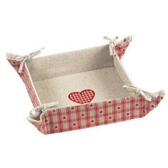 Box s výstuží z režné látky s potiskem na uložení drobností