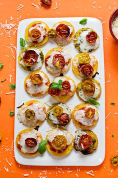 Mini Polenta Pizzas with Oven Roasted Tomatoes | A Beautiful Mess | Bloglovin'