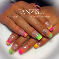 French multicolore fluo sfumato e strass