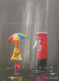 PETE RUMNEY FINE ART BUY ORIGINAL ACRYLIC PAINTING DOG IN POST BOX RAIN UMBRELLA in Art, Direct from the Artist, Paintings | eBay