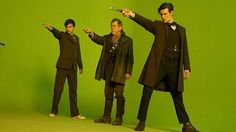 Omg I can just see how cool David and Matt feel, especially David being able to point his sonic screwdriver one last time but then there's John Hurt who looks like he feels SO stupid!