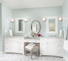 double bowl vanity with makeup area - Google Search