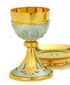 chalice Catholic breadwine dove God Body /& Blood of Jesus Christ Eucharist w Holy Spirit or Sacred Heart or Holy Family holy medal