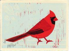 Cardinal Red Cardinal Bird Linocut Illustration Art