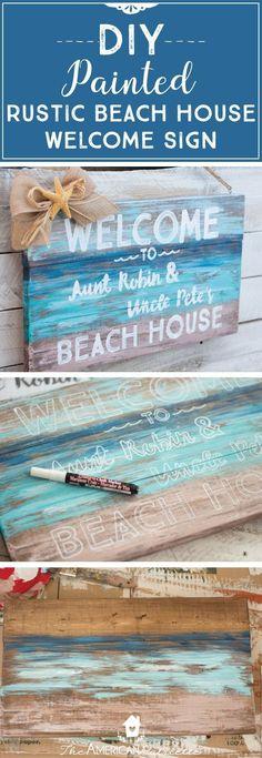 DIY Painted Rustic Beach House Welcome Sign; DIY Welcome Sign; DIY Beach Sign; Beach Sign for Shower; Beach-Themed Shower Decor; Beach-Themed Home Decor #beachhousedecordiy