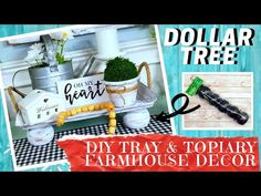 Today's DIY project creating a rustic vintage Farmhouse style table tray along with 3 adorable topiaries. I used all Dollar Tree items. Farmhouse Kitchen Signs, Farmhouse Style Table, Country Farmhouse Decor, Dollar Tree Decor, Dollar Tree Crafts, Diy Kit, Table Tray, Make A Table, Topiary