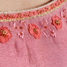 Pink Chanderi Tissue Round Neck Kalidar Kurta With Embroidery On Neck & Sleeves