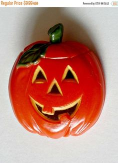 on sale Vintage orange jack-o'lantern by PlasticPinkFlamingos