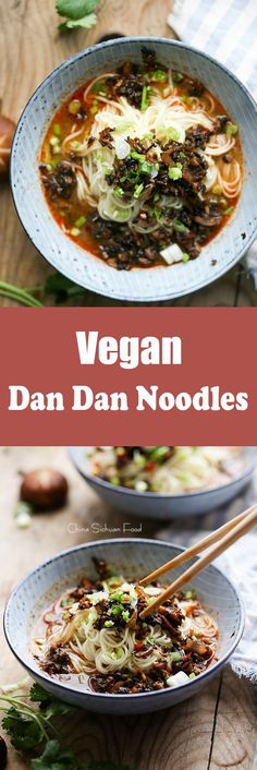 Vegan Dan Dan Noodles, a well balanced vegan dan dan noodles using healthy shiitake mushrooms and red bell pepper. http://ChinaSichuanFood.com