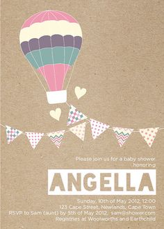 Girl Hot Air Balloon Pastels and Bunting Baby by TheLovelyLetters, $15.00
