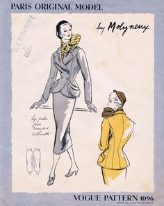 Vogue Paris Original 1096 Suit By Molyneux, Copyright 1950 | Bust 34 | Complete with Vogue sew-in label | $225 | The Blue Gardenia