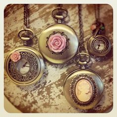 Clock Necklaces now in stock! #pocketwatch www.labellemoon.etsy.com
